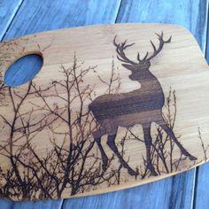 Laser Engraved Bamboo Cutting Board, Deer
