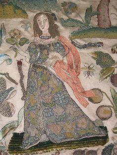 ♒ Enchanting Embroidery ♒  Antique - Lady with flower