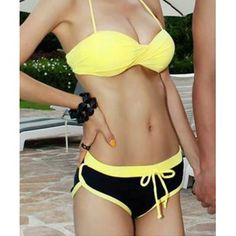 0c4239487f  16.64 Simple Halter Neck Color Splicing Drawstring Bikini Swimsuit For  Women Swimwear Fashion