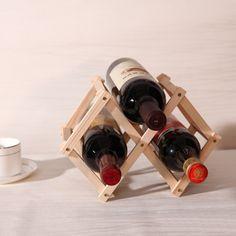 Wood Folding Wine Holder New Classical Wooden Red Wine Rack 3 Bottle Holder Mount Kitchen Bar Display Shelf
