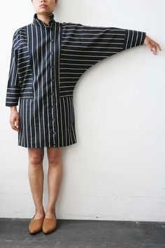 Black / White Striped Dress with Top to Bottom Buttons by laurie – Daily Posts for Women Black White Striped Dress, Black White Stripes, Ny Dress, Shirt Dress, Hijab Fashion, Fashion Dresses, Only Shirt, Streetwear, Types Of Sleeves