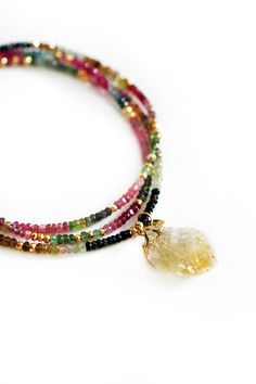 TOURMALINE & raw citrine necklace