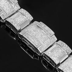 14K White Gold Mens Diamond Bracelet 27.13 Ctw