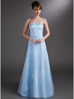 A-Line/Princess Floor-Length Satin Bridesmaid Dress With Beading