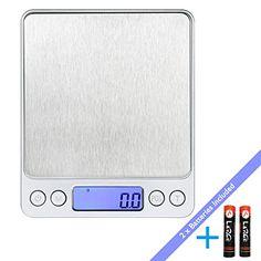 LaTEC Balance de cuisine numérique (3000g, 0.01oz/ 0.1g), Mini Electronic balance de Food et Jewelry, avec rétro-éclairage Affichage LCD,…