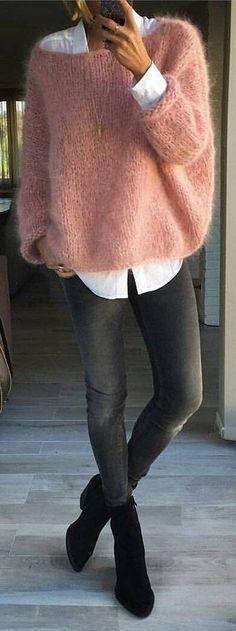 #winter #fashion / Pink Wool Knit + White Shirt