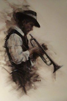 Round Midnight by Remi Labarre - Figurative Paintings & fine art pictures available in our gallery - Free delivery on all orders over Arte Jazz, Jazz Art, Pastel Drawing, Painting & Drawing, Black Art, Amazing Art, Vincent Van Gogh, Art Drawings, Art Photography