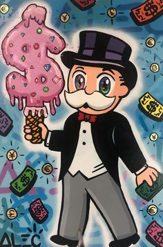 Alec Monopoly – Holding - View the full collection now on our site. Art Sketches, Art Drawings, Dope Cartoons, Trippy Painting, Dope Art, Cultura Pop, Fine Art Gallery, Cartoon Wallpaper, Graffiti