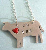 Christy Robinson Go Veg Cow Pendant Necklace Cute Necklace, Pendant Necklace, Vegan Shopping, Go For It, Vegan Fashion, Vegan Vegetarian, Vegan Food, Jewelry Crafts, The Help