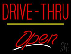 Drive-Thru Open Yellow Line Neon Sign 24 Tall x 31 Wide x 3 Deep, is 100% Handcrafted with Real Glass Tube Neon Sign. !!! Made in USA !!!  Colors on the sign are Yellow, White and Red. Drive-Thru Open Yellow Line Neon Sign is high impact, eye catching, real glass tube neon sign. This characteristic glow can attract customers like nothing else, virtually burning your identity into the minds of potential and future customers.