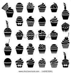 vector black and white cupcakes icons by freesoulproduction, via Shutterstock