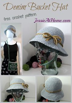 Denim Bucket Hat - free #crochet pattern by @jessieathome