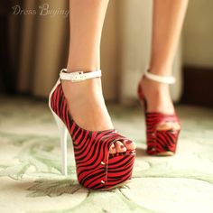 Fashionable Red Peep-toe Platform Stiletto Heels