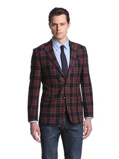 81% OFF Simon Spurr Men's Tartan Tweed 2-Button Sportcoat (Red/Navy)
