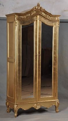 Solid Mahogany Gilt Gold Leaf French Ornate Mirrored Mirror Armoire Wardrobe