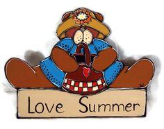 Brown bear girl on summer time - Summer door sign with little brown bear - Summer door hanger with pretty brown bear de la boutique LULdesign sur Etsy