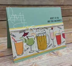Welcome back crafters. Today I'm playing along with Global Design Project  layout challenge.Ever have a day where you need a beverage (or many more)?  Apparently I was having one of those days and instead of grabbing the cold  beverage(s) I went for the Mixed Drinks stamp set to create a card.  Challenge  Global Design Project(#GDP070) is one of my go to challenge blogs. I was  excited to see this week was a sketch challenge..  Creative Color Combination  Though they seem like spring co...