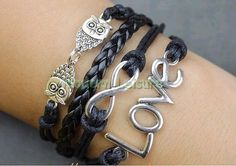 Love Jewlery Infinity Jewlery Owl Jewlery Love by ModernLeisure, Owl Jewelry, Cute Jewelry, Jewlery, Jewelry Accessories, Women Jewelry, Owl Bracelet, Love Bracelets, Metal Bracelets, Charm Bracelets