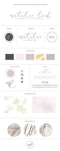 Brand Style Guide for Natalie Lock | Brand Style Board for Nina Winter | This bridal accessories and wedding business got a great rebrand with  a new logo, submark and soft lilac and gold color scheme