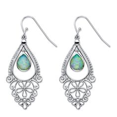 "Palm Beach Jewelry Pear-Cut Aurora Borealis Simulated Opal Scroll Drop Earrings in Sterling Silver 1.75"" Color Fun"