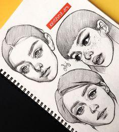 """6,984 Likes, 59 Comments - Алёна (@kedavra.art) on Instagram: """"Люблю рисовать женские головы, что поделать Есть ещё вторая часть таких зарисовок листайте…"""""""