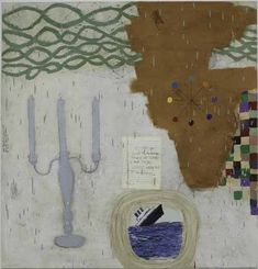 Squeak Carnwath Get Good is an abstract narrative oil painting with a chandelier and a notebook page and a sinking ship at Seager Gray Gallery in Mill Valley CA in the San Francisco Bay Area