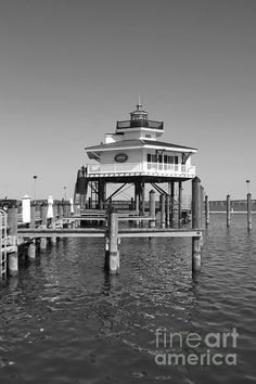 Choptank River Lighthouse in Cambridge, Maryland done in Black & White, by Francie Davis
