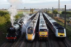 Left to right: The Flying Scotsman, the brand new Virgin Azuma Class an InterCity 225 Class 91 (badged as the Virgin Flying Scotsman) and an HST Class 43 (Photo: Guzelian) Electric Locomotive, Diesel Locomotive, Steam Locomotive, Uk Rail, National Rail, Flying Scotsman, Rail Transport, Liverpool Street, Railway Posters