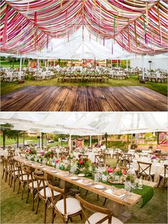 streamer draped dance floor with coordinating tablescape!  Gorgeous and so fun!