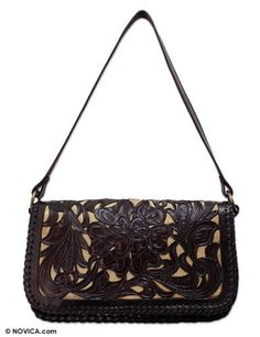 Leather shoulder bag, 'Chrysanthemum' - Handbags Couture