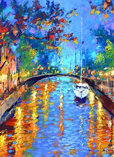 Blue evening oil on canvas painting by Dmitry Spiros by spirosart
