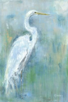 Items similar to Regal White: Fine art white egret print from an original white egret acrylic painting on Etsy Bird Painting Acrylic, Watercolor Paintings, Acrylic Paintings, Art Paintings, Painting Art, Painting Portraits, Knife Painting, Animal Paintings, Watercolors
