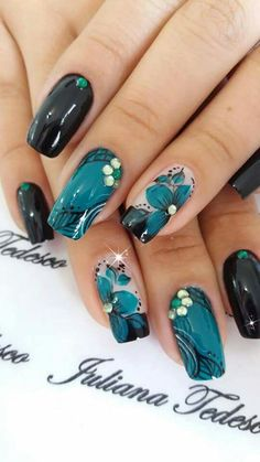 Pretty Nail Designs, Nail Art Designs, Nails Design, Hair And Nails, My Nails, Teal Nails, Paws And Claws, Flower Nail Art, Moisturizer For Dry Skin