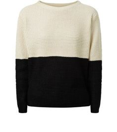 """Poppy Lux. Patterned knits are a fashion staple this autumn winter, and this simple colour block design is perfect for a understated approach. Toughen with ripped jeans and a biker jacket.- Classic crew neckline- Simple long sleeves- Knitted fabric- Casual fit- Ribbed hem- Model is 5'8""""/176cm and wears UK 10/EU 38/US 6"""