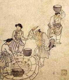 (Korea) Side a Well by Danwon, Kim Hong-do (1745-1806). ca 18th century CE. Joseon Kingdom, Korea. colors on paper.