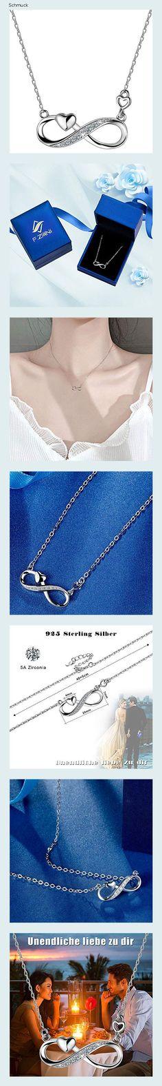 F.ZENI Damen Kette 925 Sterling Silber Unendlichkeit Kette Funkeln Kubisches Zirkonia Liebe für Immer Kette für Frauen Mädchen Schmuck Geschenk mit Geschenkbox - 14he