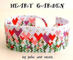 Julie Ann Smith Designs HEART GARDEN Odd Count Peyote Bracelet Pattern