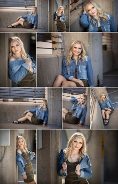 Amazing senior portraits featuring Megan in her camo dress and jean jacket. Senior Picture Poses, Senior Portraits Girl, Senior Girl Poses, Senior Picture Outfits, Girl Senior Pictures, Photo Poses, Senior Girls, Senior Posing, Senior Session