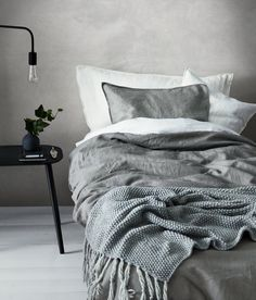Sengesett i vasket lin   Grå   Home   H&M NO