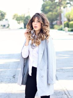 Grey boyfriend coat // white button up + black skinny jeans