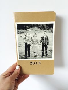 Make a journal with this quick DIY moleskine craft. You will need one 5 x 7 inches kraft moleskine, mod-podge, stickers and one photo.