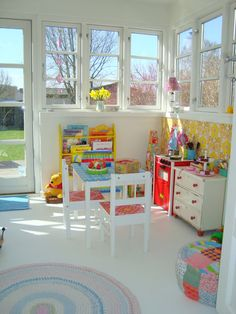 Retro kids corner. Retro yellow wallpaper. Wallpaper on furnitures. old dresser. Pastel colourson textile.