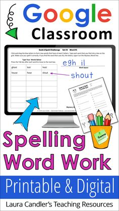 Seek & Spell Challenge is a fun spelling and word work activity that's so engaging your kids won't even know they're learning! Bundle includes weekly printables plus digital activities for Google Classroom. Awesome resource for distance learning and homeschooling, too! #spellingactivity #wordwork #digitalwordwork #Googleclassroom #DistanceLearningTpT #homeschool Word Work Activities, Phonics Activities, Learning Resources, Teacher Resources, Teacher Tips, Teaching Tools, Spelling Words, Google Classroom, Teaching Reading