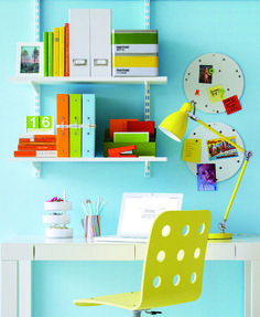 refreshingly colorful workspace.