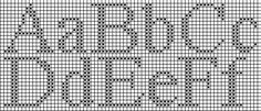 Free counted cross stitch chart for the Times New Roman alphabet, 14 stitches high...use for knitting?