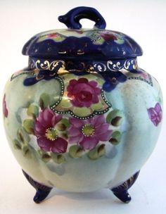 Cobalt Hand Painted Biscuit Jar Roses Gold Trim Vintage MIJ