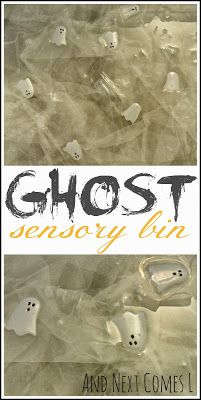And Next Comes L: Simple Ghost Sensory Bin