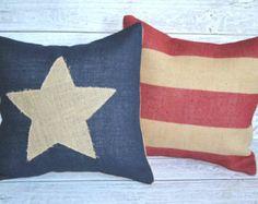 Burlap American Flag Pillow Set