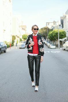 beaded embellished felisa bomber jacket leather pantsMEMORANDUM, formerly The Classy Cubicle