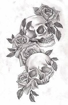 sugar skull with flowers tattoo - Recherche Google